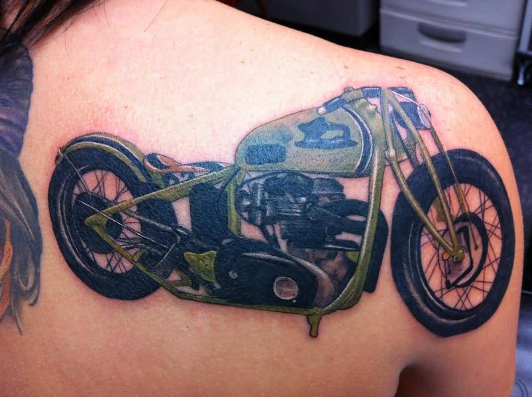 Stylish Green Bike Tattoo Make On Back Shoulder