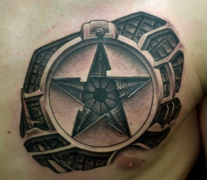 Wonderful Big Star Tattoo On Men's Chest