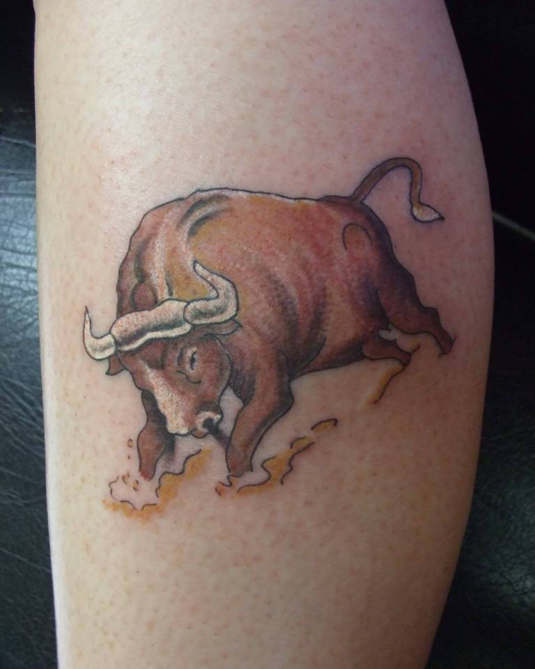 Yellow Angry Bull Tattoo Design On Bicep