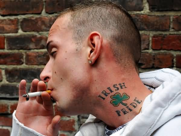 Addicted Men Show Wonderful Clover And Irish Pride Text Tattoo Design