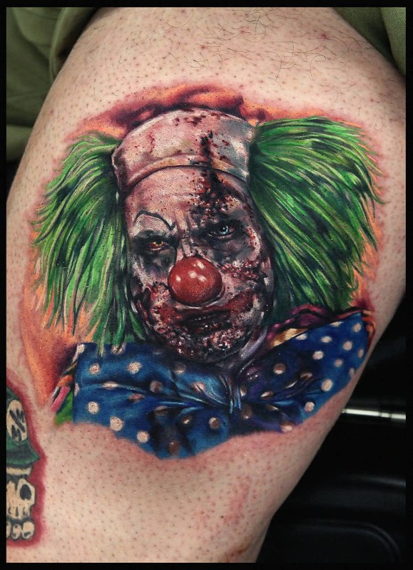 Amazing Sad Scary Clown Tattoo Made By Colourful Ink