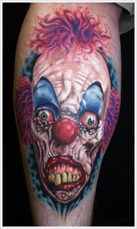 Amazing Scary Clown Face Tattoo Design Made By Colorful Ink