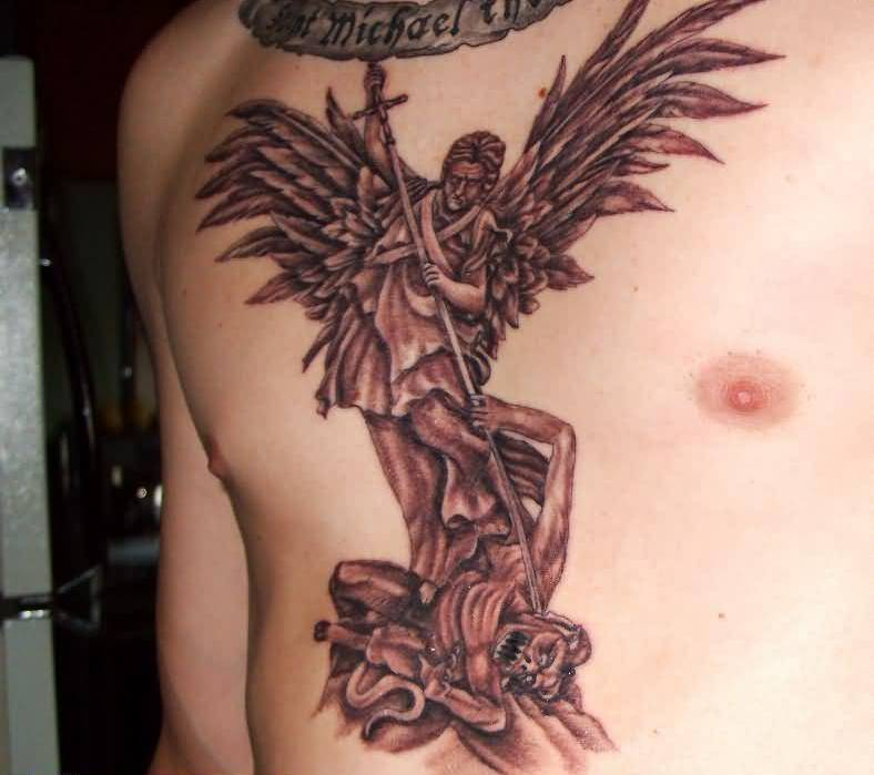 Angry Angel Warrior Beat Devil With Banner Tattoo Design Make On Chest 6