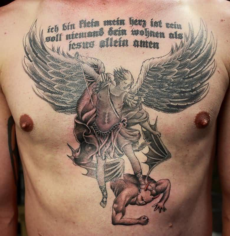 Angry Angel Warrior Beat Evil And Writing Tattoo On Men's Chest 6