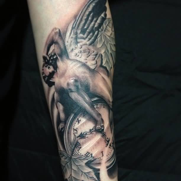 Angry Scrolling Angel With Clock Tattoo