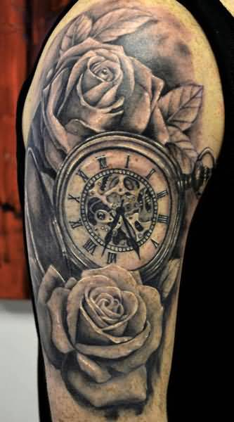 a644f469ff068 Awesome Clock And Lovely Roses Tattoo Design Make On Upper Sleeve