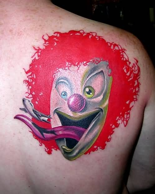 Awesome Funny Clown Back Tattoo Design Made By Colorful Ink