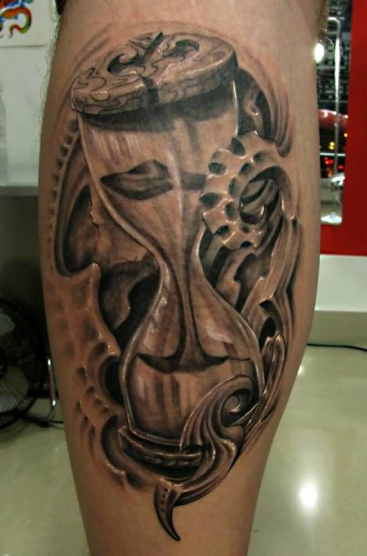 innovative sand clock tattoo on back sleeve. Black Bedroom Furniture Sets. Home Design Ideas