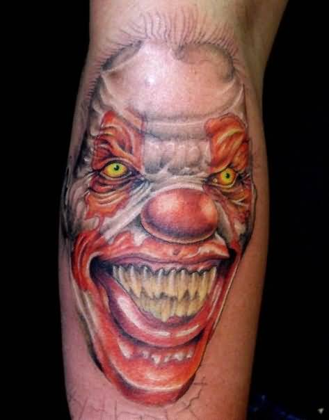 Awesome Scary Clown Face Tattoo Design Make On Forearm