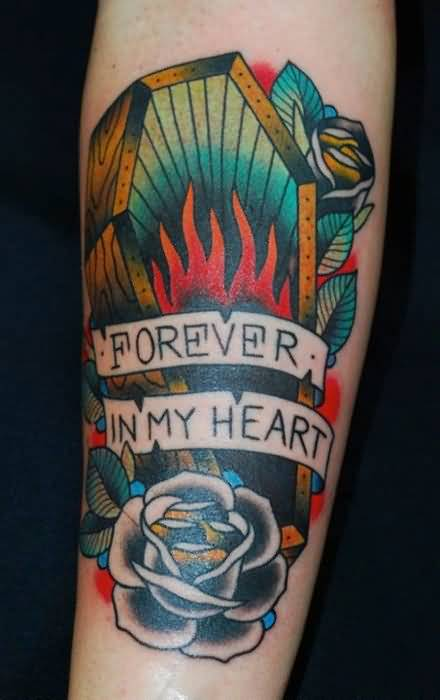 Beautiful 1 Flower And Forever In My Heart Banner And Flaming Coffin Tattoo