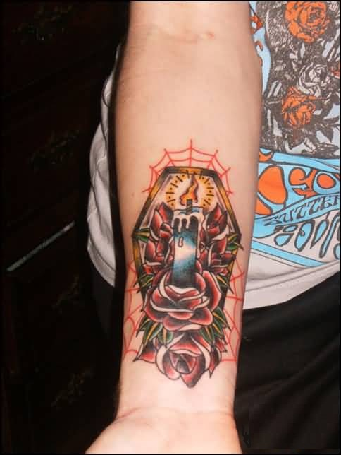 Beautiful Red Roses And Burning Candle With Coffin Tattoo Design Make On Men's Lower Sleeve