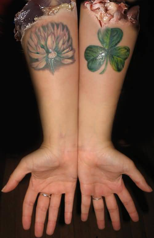 Both Lower Sleeve Cover Up With Lovely Flower And  Green Clover Tattoo