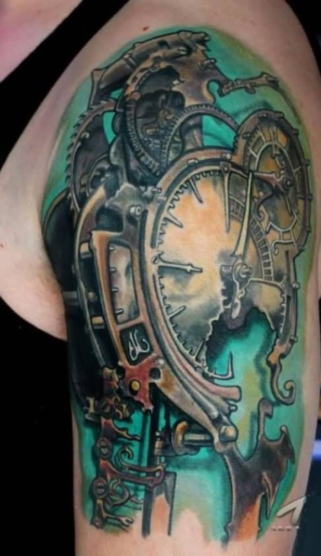 d78c4eed7 Briiliant Upper Sleeve Cover Up With Awesome Clock Tattoo For Handsome Men