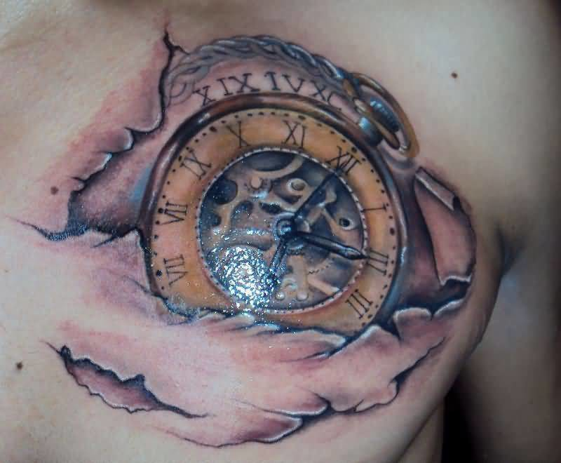 Brilliant Chest Cover Up With Realistic Ripped Skin Clock Tattoo For Men