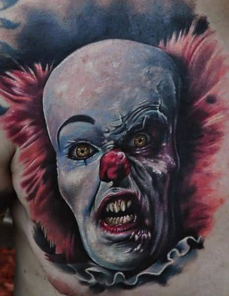 Brilliant Chest Cover Up With Realistic Zombie Clown Tattoo For Men 3