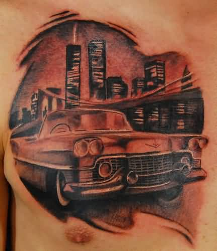 Brilliant Famous Car Chest Tattoo For Men 2