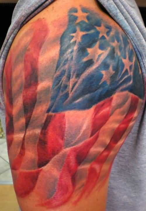39debd71aa702 Brilliant Glowing Upper Sleeve Cover Up With Famous American Country Flag  Tattoo