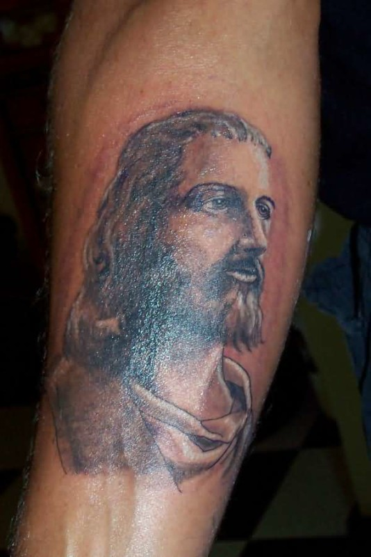 Brilliant Jesus Christian Face Tattoo Design Made By Ink