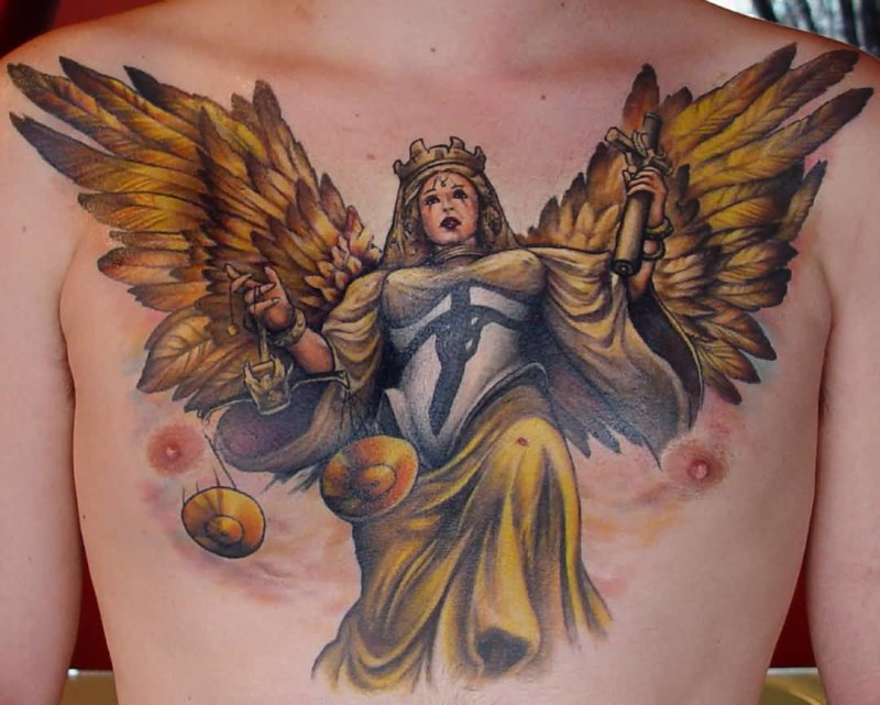 Brilliant Justice Winged Angel Chest Tattoo Made By Yellow Ink 7
