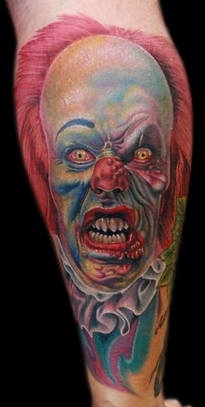 82ab3f495 Ultimate Big Horn Scary Blue Devil Face Tattoo Image · Brilliant Lower  Sleeve Decorated With Realistic Clown Face Tattoo Design
