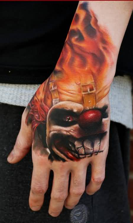 Brilliant Lower Sleeve Decorated With Realistic Clown Face Tattoo