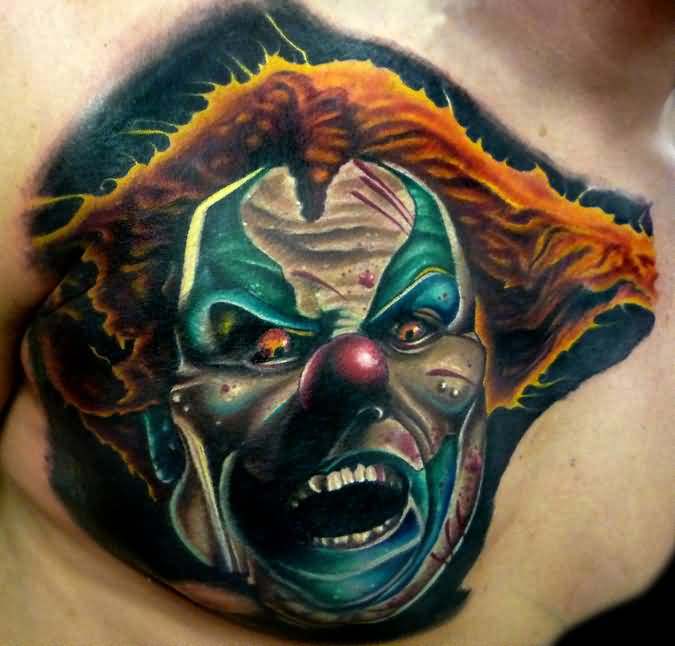 Brilliant Men Chest Decorated With Realistic Scary Clown Tattoo Design