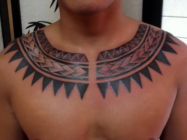 Brilliant Polynesian Tattoo Design Make On Men's Collarbone