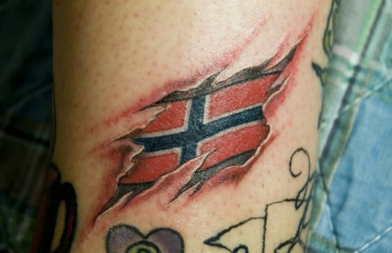 Brilliant Ripped Skin Norway Flag Tattoo Design Made By Artist