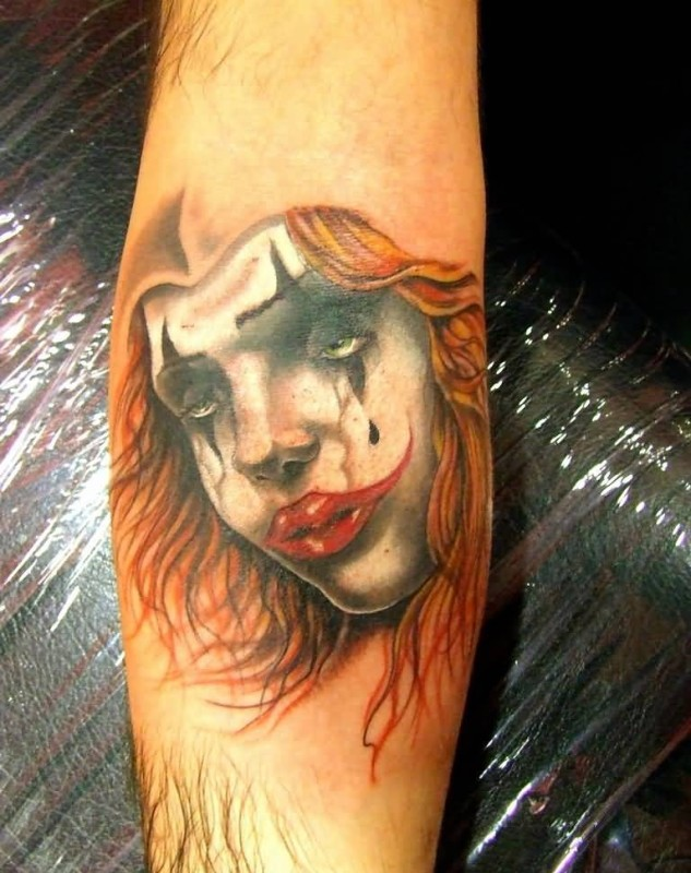 Brilliant Sad Clown Latino Girl Tattoo Made By Ink