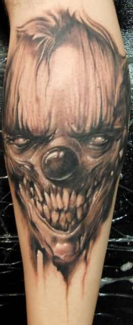 Brilliant Scary Clown Face Tattoo Design Made By Ink