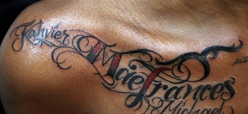 Brilliant Text Tattoo Design Make On Men's Collarbone