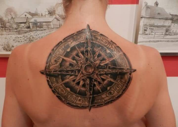 Brilliant Upper Back Awesome Compass Tattoo For Passionate Women