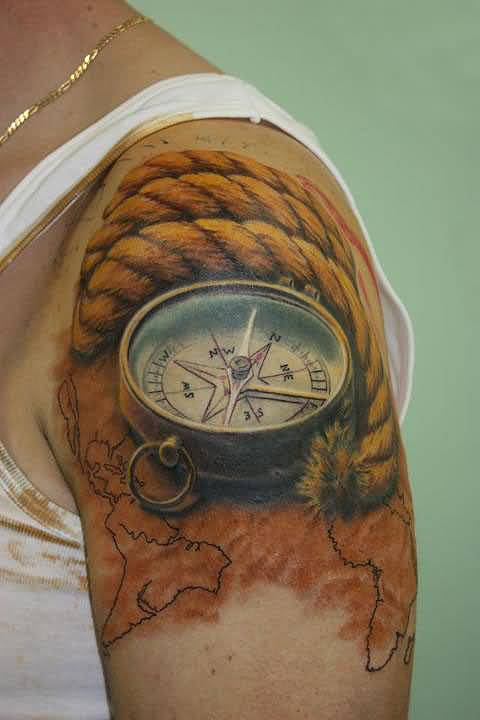 Brilliant Upper Sleeve Cover Up With Realistic Compass Tattoo For Men