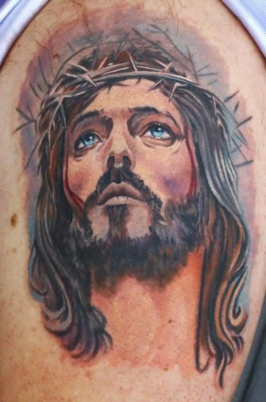 Brilliant Upper Sleeve Cover Up With Realistic Jesus Christian Face Tattoo For Men