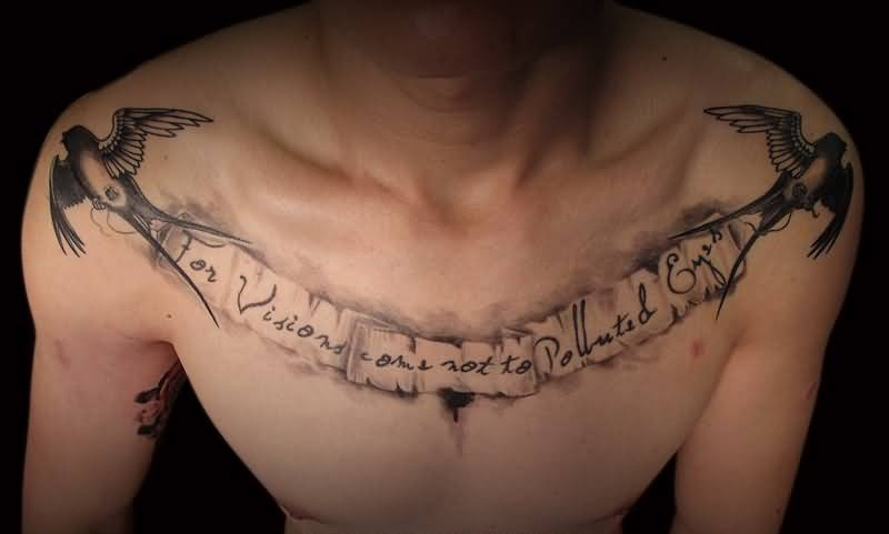 Brilliant Writing And Lovely Flying Birds Tattoo Make On Men's Chest 3