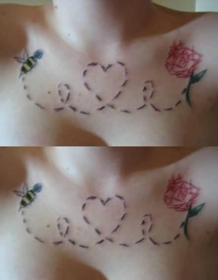 Colourful Bumblebee And Simple Red Flower Tattoo On Women's Chest 2