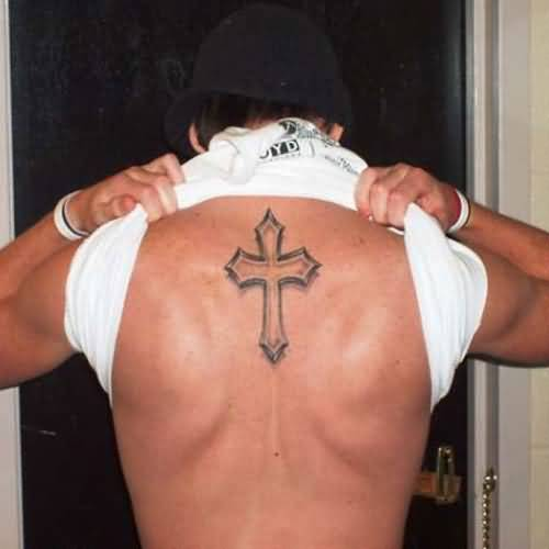 Cool handsome men show outstanding simple cross tattoo on for Simple back tattoos for guys