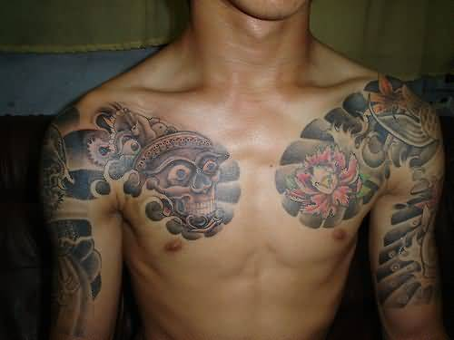 Chest tattoo ideas and chest tattoo designs page 15 for Skull sun tattoo