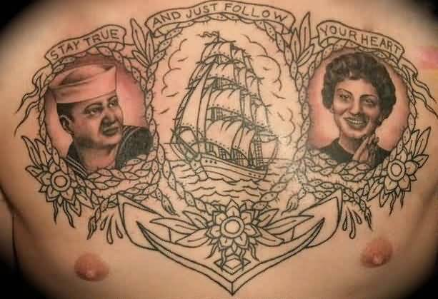 Cool Men Show Anchor And Wonderful Banner With Men Face Tattoo On Chest 5