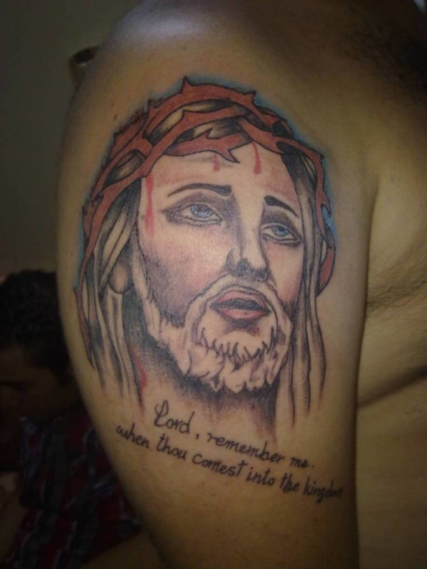 Cool Men Show Brilliant Jesus Christian Tattoo With Lovely Words