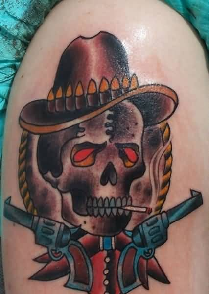 Dangerous Red Eyes Smoking Cowboy Skull With Guns Tattoo On Upper Sleeve