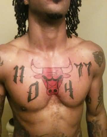 Dark Men Show Angry Red Bull And Simple Black Writing Tattoo On Chest 19