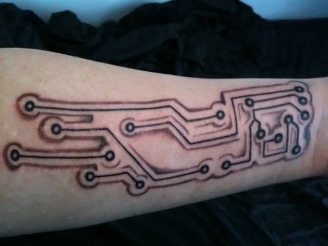Fabulous Chip Circuit Tattoo Design Make On Back Sleeve