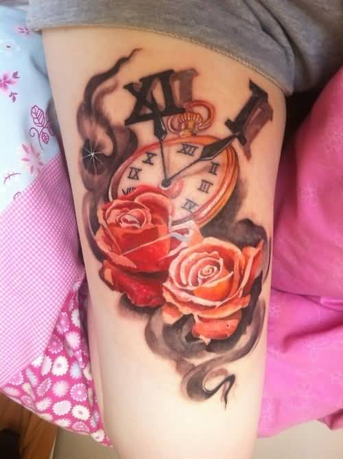 4f4654c960366 Fabulous Clock And Outstanding Lovely Red Roses Tattoo · Lower Sleeve  Decorated With Sweet Angel ...