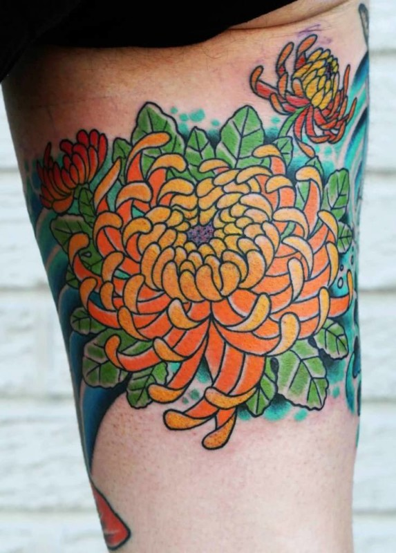 Fabulous Orange Chrysanthemum Tattoo Made By Ink