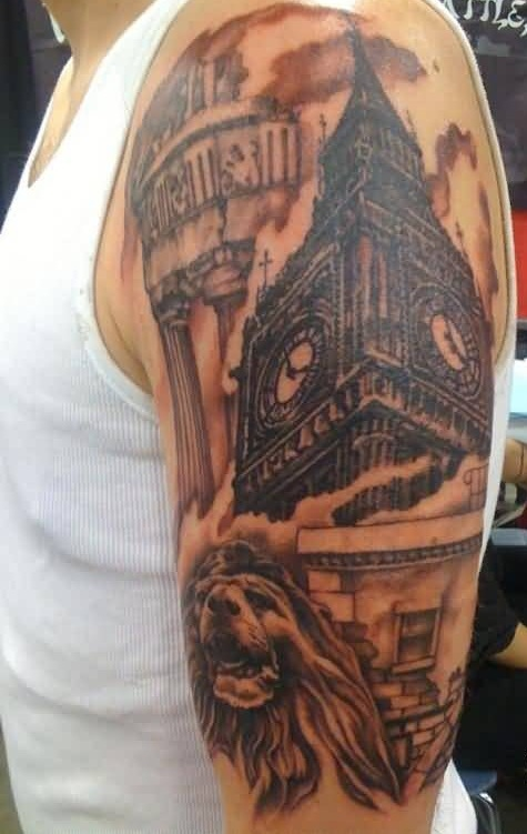 Famous Big Ben Clock And Dangerous Lion Face Tattoo Onm Men's Upper Sleeve