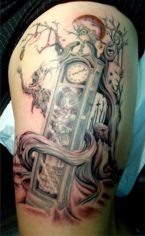 clock women tattoo ideas and clock women tattoo designs. Black Bedroom Furniture Sets. Home Design Ideas