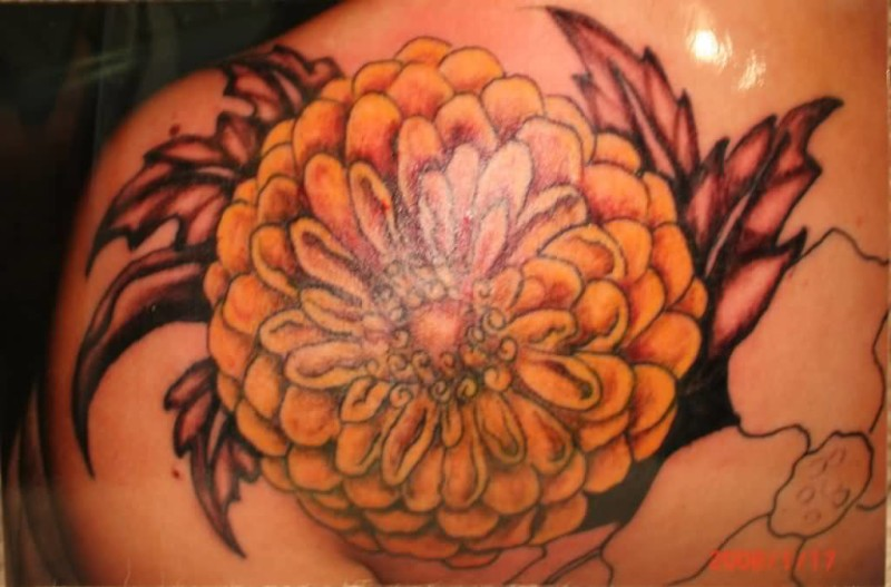 Fantastic Big Yellow Chrysanthemum Flower Tattoo On Back