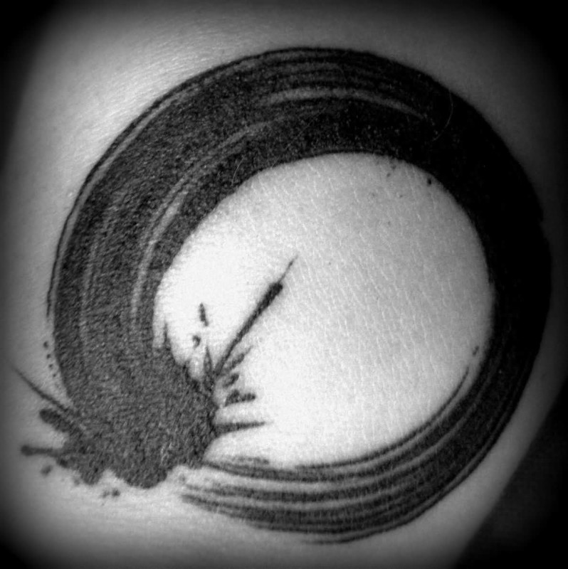 Fantastic Enso Circle Tattoo Design Made Bu Black Ink
