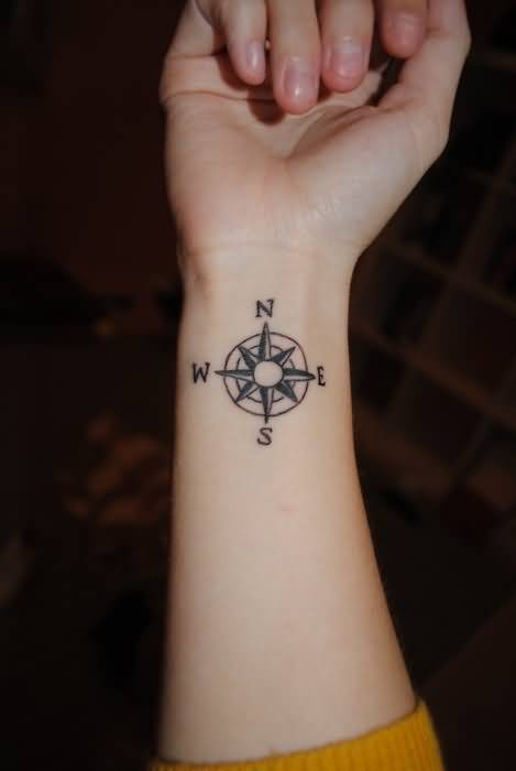 Fantastic Lower Sleeve Small Compass Tattoo Design Made By Black Ink